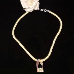 Cookie Lee Jewelry - Silver Tone Chrystal Charm Rope Necklace